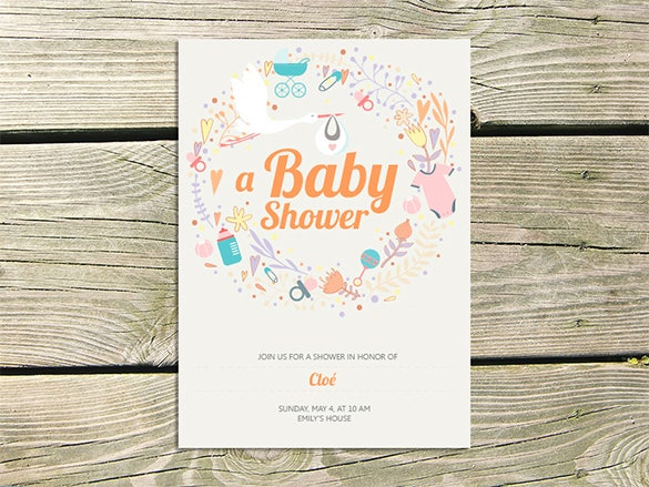 Editorial Baby Shower Card Illustration Free Download  Baby Shower Invitation Backgrounds Free