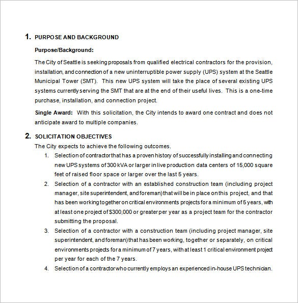 electrical bid proposal template word