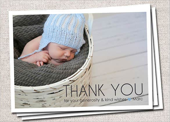 elegant baby photo thank you card