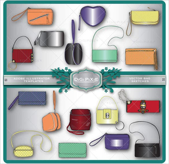 elegant handbag illustrator template