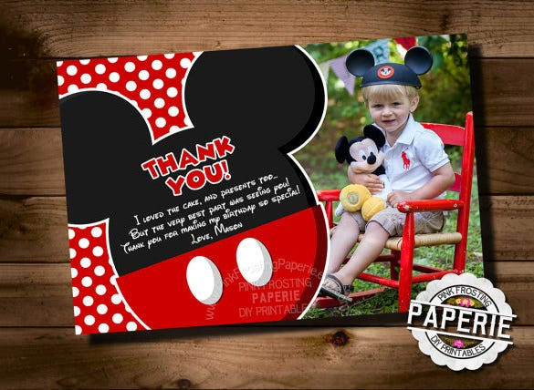 elegant mickey mouse thank you card