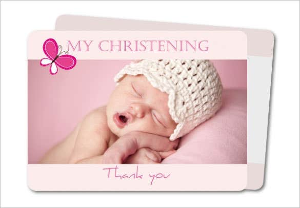 elegant stripes thank you card for baby