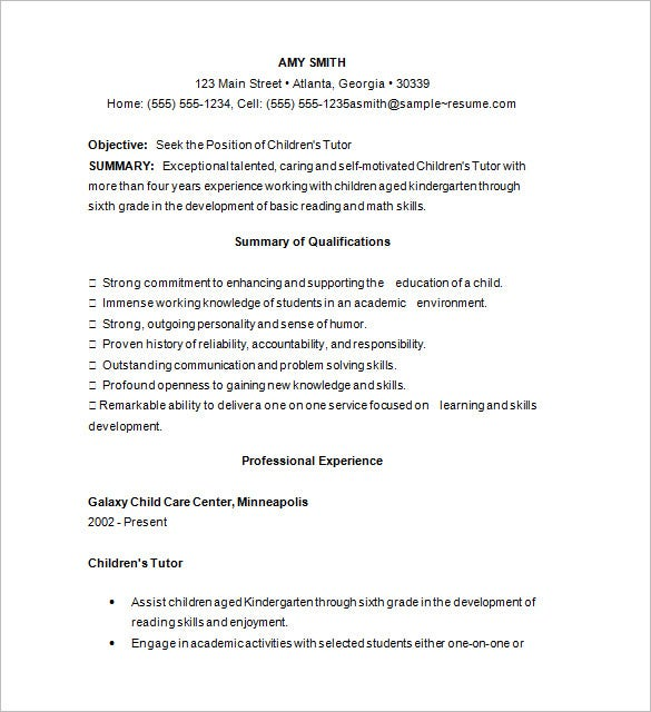 elementary tutor resume sample download