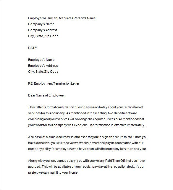 employee termination letter pdf format sample resignation letterscom