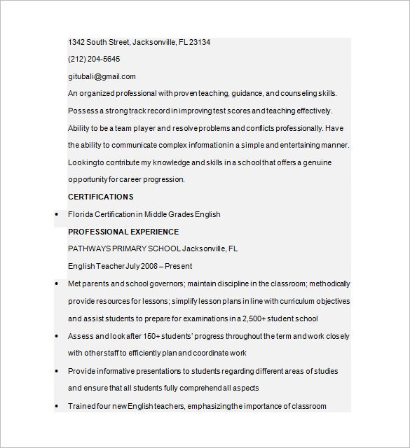 english tutor resume free download
