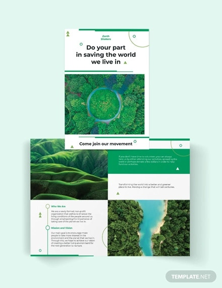 environmental conservation bi fold brochure template
