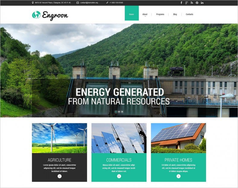 environmental responsive website template 788x622