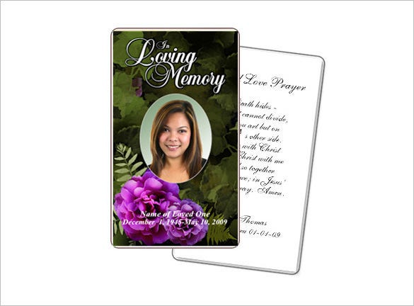 Essence Large Card Template  Memorial Card Template Word