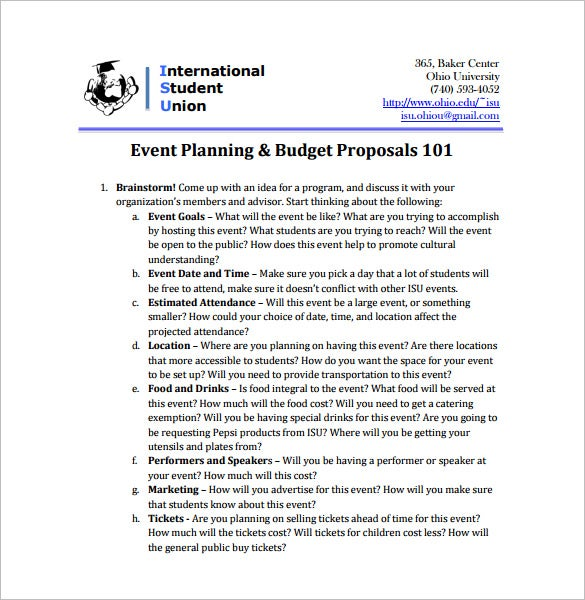 Exceptional Event Budget Proposal PDF Download  Event Proposal