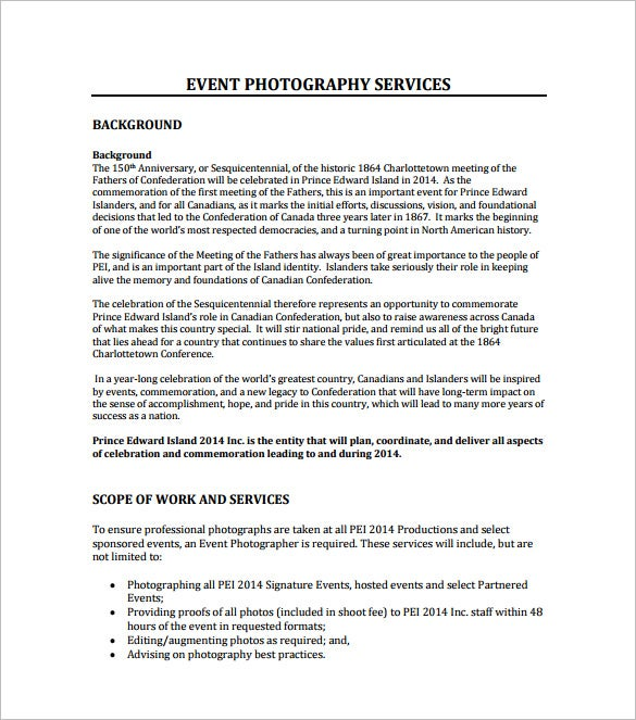 Event Photography Proposal Format Download  Event Proposal Sample Letter
