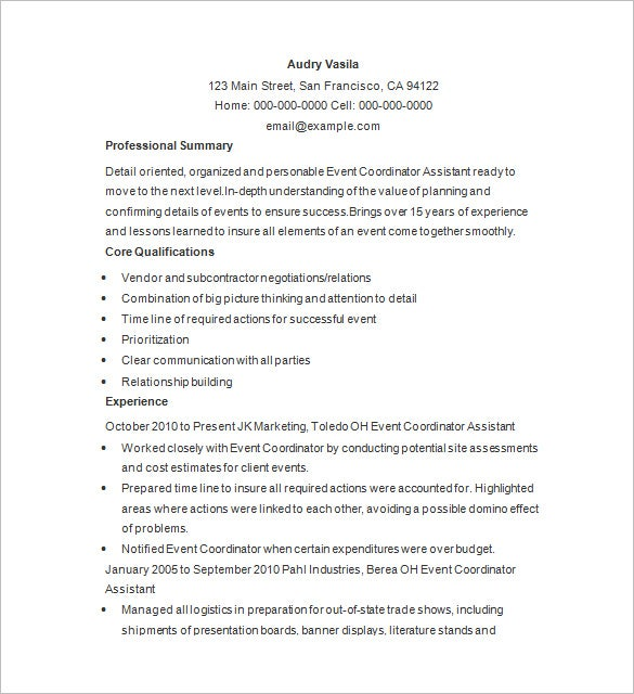 Event Planner Resume Template 11 Free Samples Examples Format – Events Coordinator Resume
