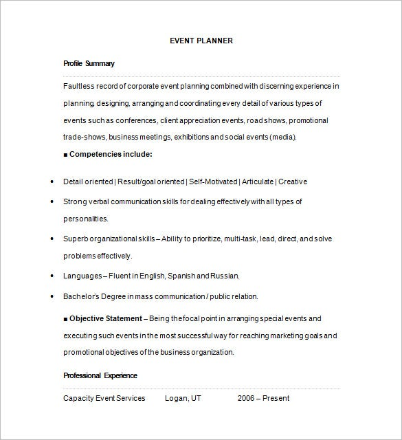 event planner resume template objective examples sample free templates