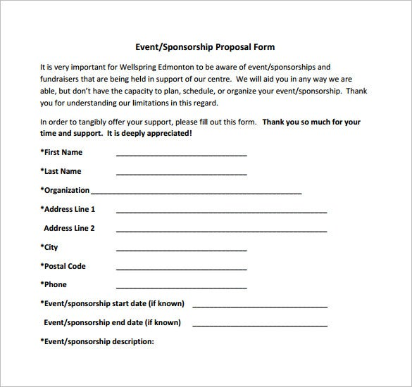Lovely Event Sponsorship Proposal Example Download  Example Sponsor Form