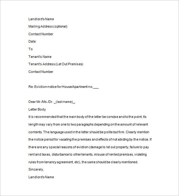 eviction letter format free download
