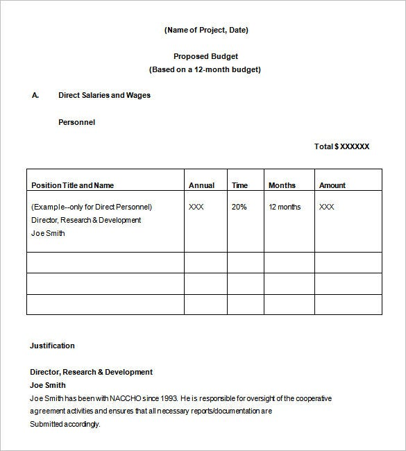 Budget Proposal Template   Free Sample Example Format