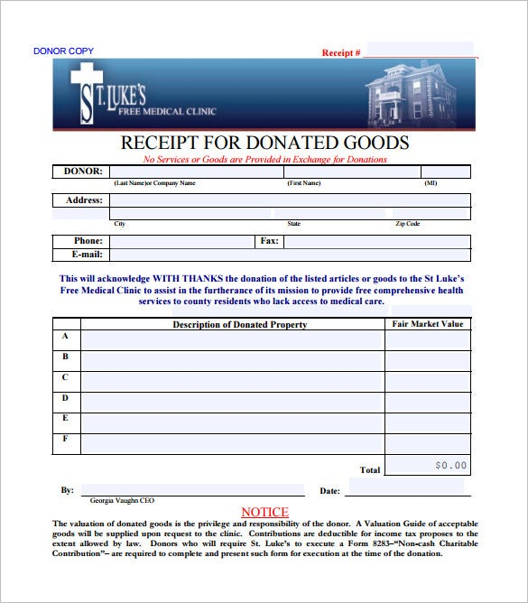 example receipt for donation of goods download