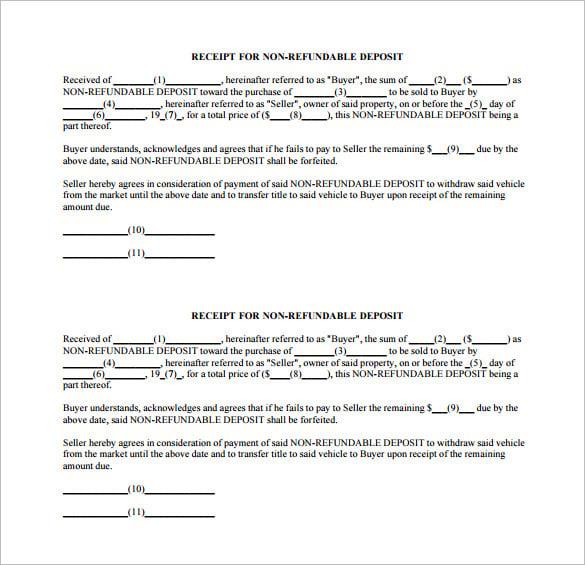 how to write a deposit receipt