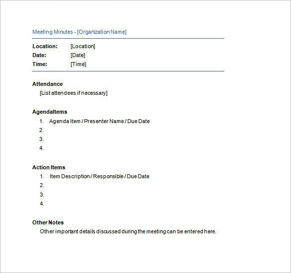 example of free meeting minutes template
