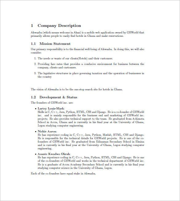 Hotel Business Plan Template 8 Free Sample Example Format – Business Plan Format