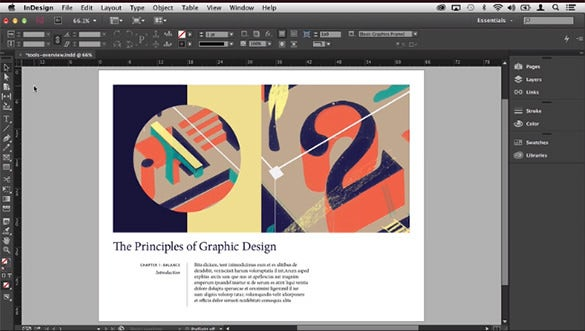 example of indesign working with tools