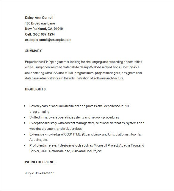 24  php developer resume templates