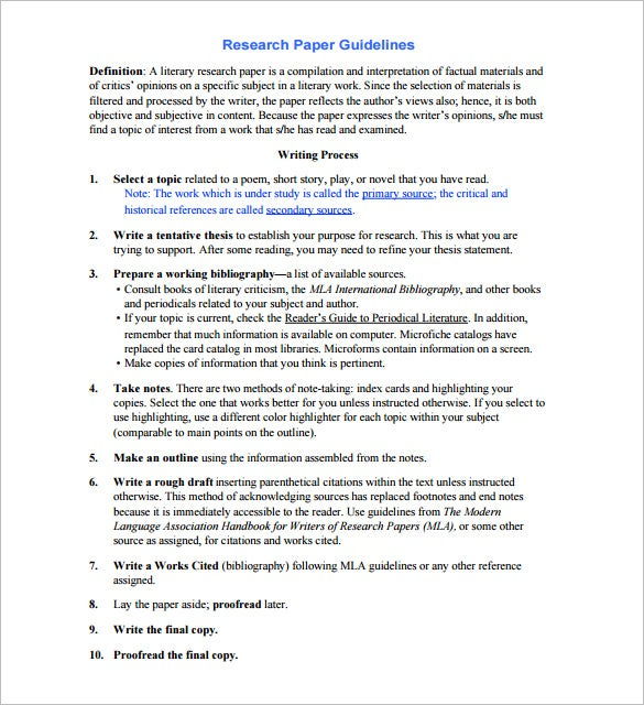 Research Outline 10 Sample Example Format Example Of Research Paper Outline