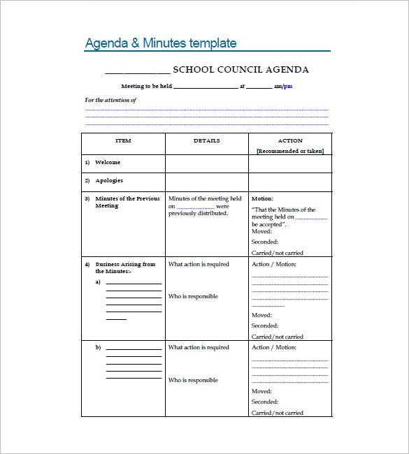 School Meeting Minutes Templates   Free Sample Example Format