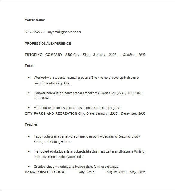 executive tutor resume format