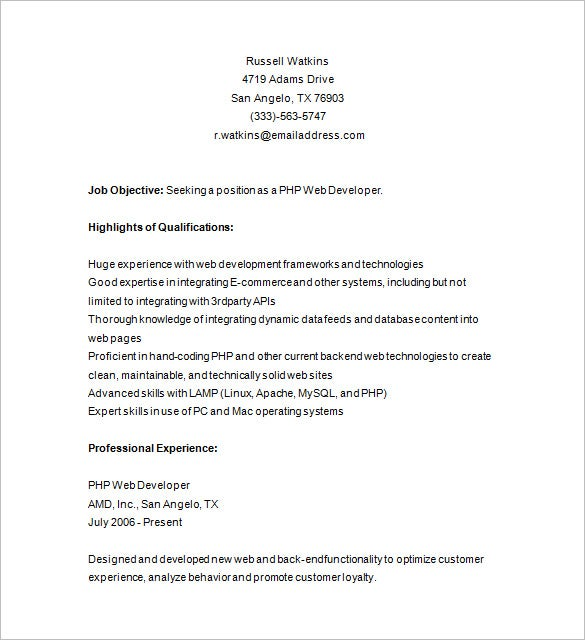 Php Developer Resume Template – 19+ Free Samples, Examples, Format