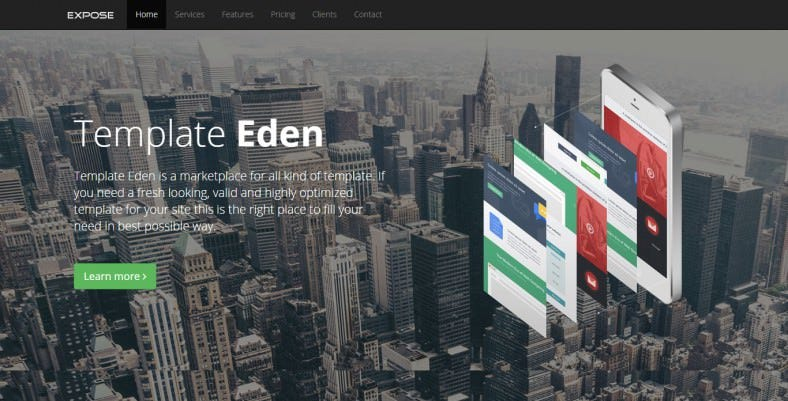 expose single page website tempate 788x401