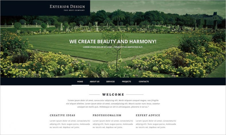 Exterior Design Responsive Website Template. Free Demo Download