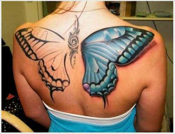 extravagent 3d butterfly tattoo design