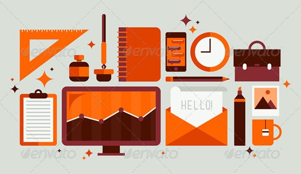 fabulous set of office tools illustrator
