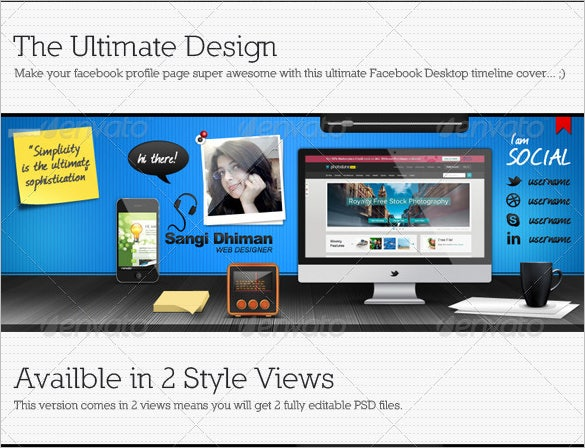 facebook desktop timeline psd cover template 4