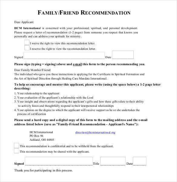 family friend recommendation letter