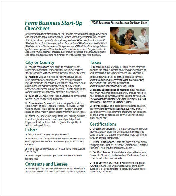 farm business startup business plan template