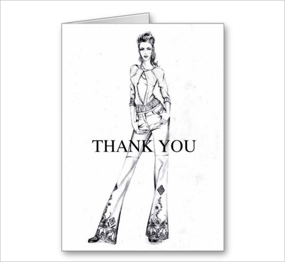fashion sketch thank you card