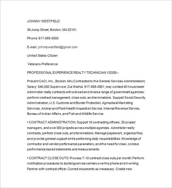 federal writer resume word download