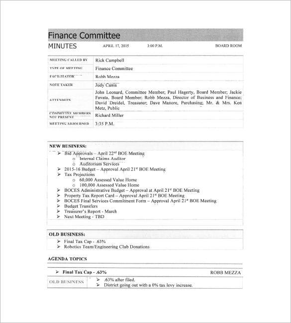 finance committee minutes meeting