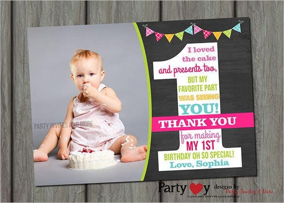 first birthday chalkboard thank you card