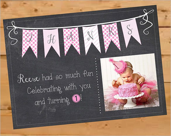 first birthday thank you card template