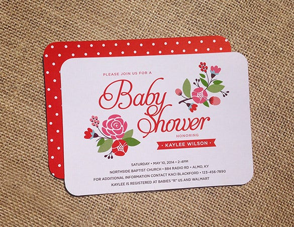 flower baby shower invitation typography