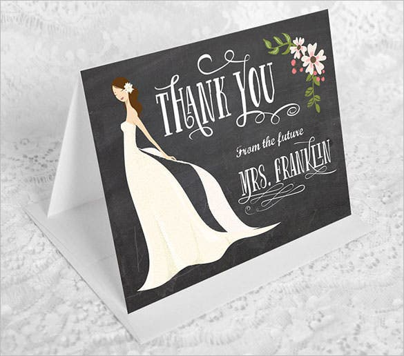 folded bridal shower thank youcard