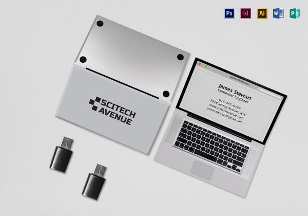 folded laptop business card template
