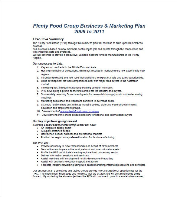 Food Marketing Business Plan Template