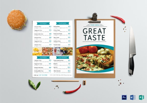 food menu template sample
