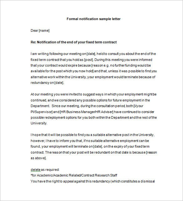 10+ Notice Letter Templates – Free Sample, Example Format Download