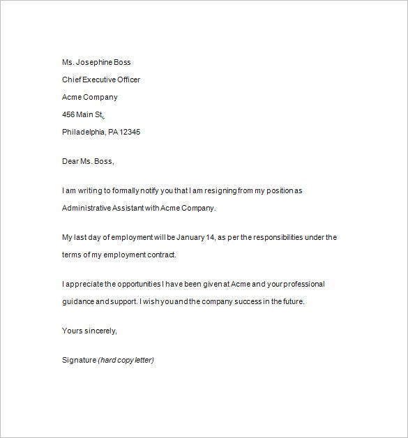 formal resignation notice template