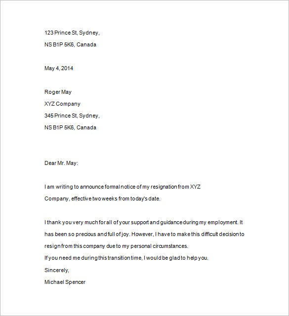 formal two weeks notice word download