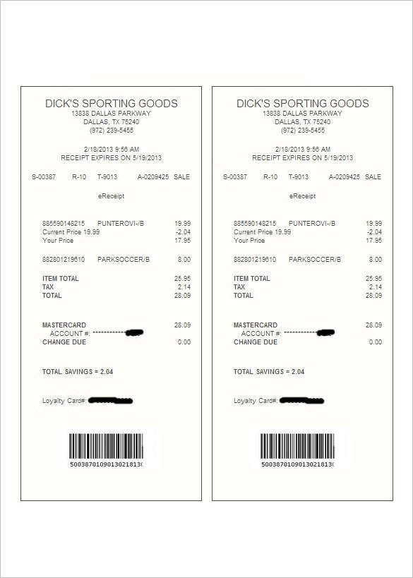 electronic receipt template 14 free sample example format